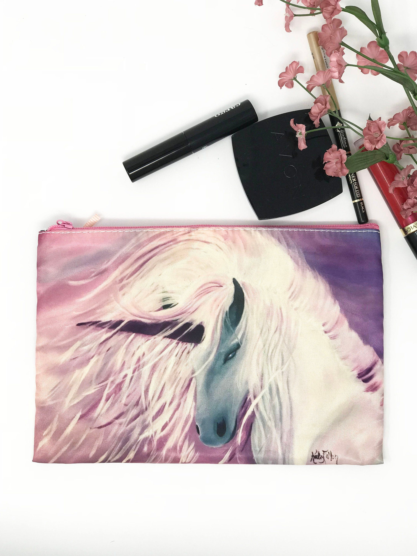 Purse Cosmetic Makeup Bag, Unicorn Purple Wallet, Small