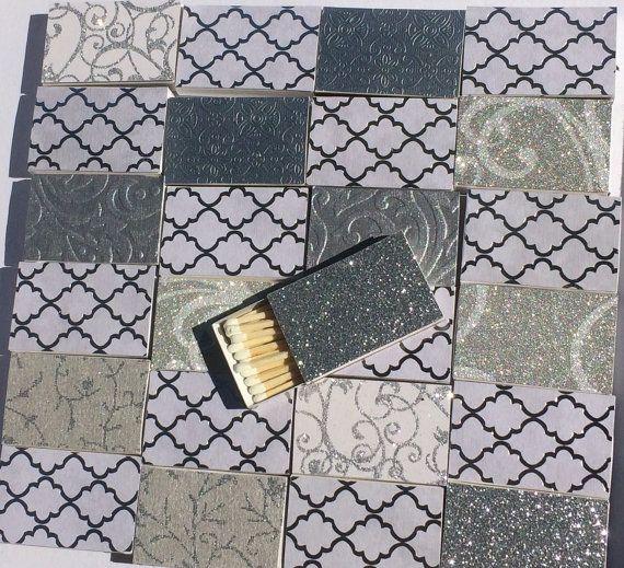 10 Matchbox Wedding Favors  Silver Metallic Black by ArtZodiac