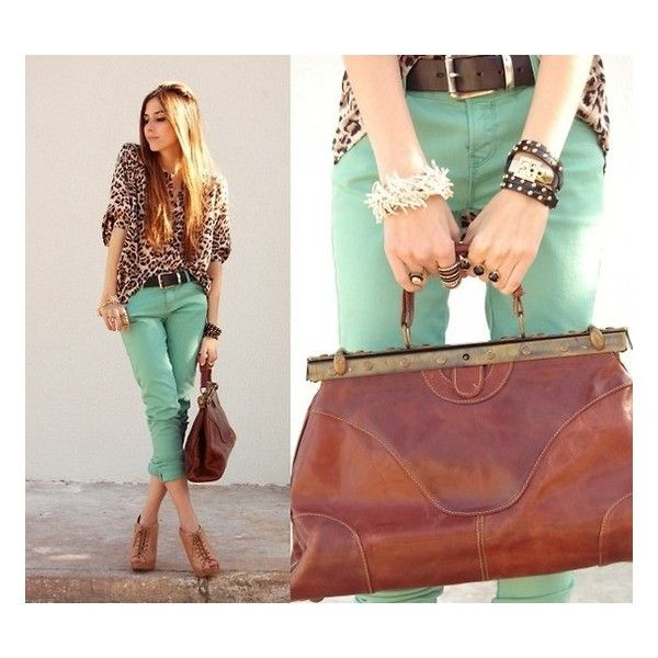 Love this leopard + teal jeans