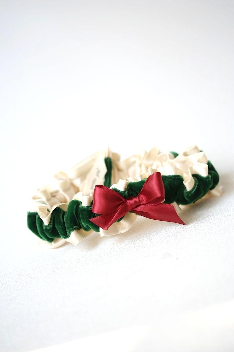Red, Green Velvet and Ivory Garter | Wedding garters, Ivory and Wedding