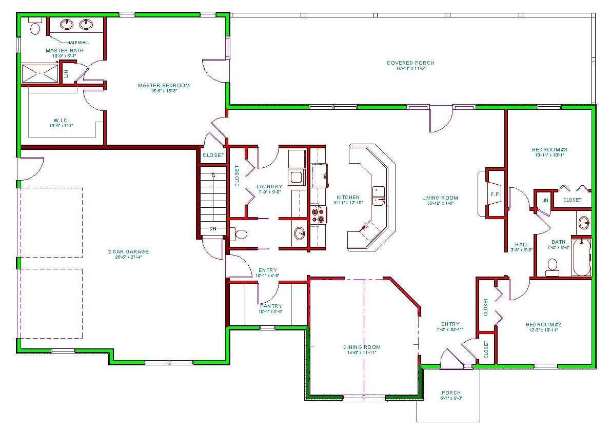 2100 square foot Ranch house plans, House plans, New