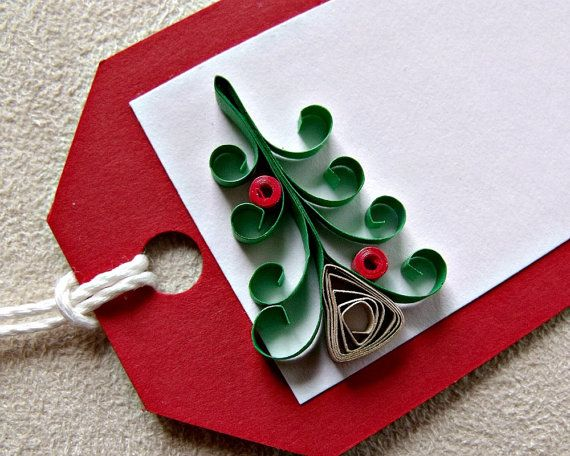 handmade paper quilled christmas gift tags set of five. Black Bedroom Furniture Sets. Home Design Ideas