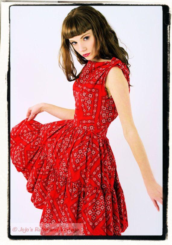 Vintage 60s red bandana dress / valentine by JojosRetroandVintage, $62.00