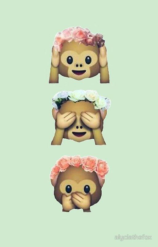 See No Evil Monkey Emoji Hipster Flower Crown Tumblr By Alyciathefox Flower Crown Tumblr Monkey Emoji Monkey Emoji Wallpapers