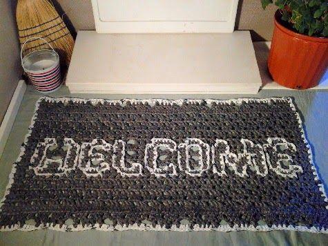 Crochet Is The Way Free Pattern Plarn Welcome Mat Plastic Bag Crochet Crochet Rug Patterns Crochet Mat