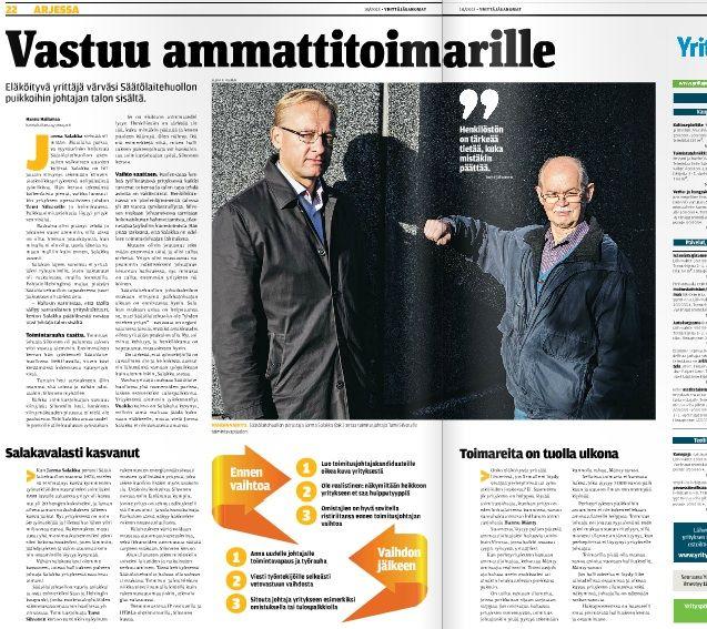 Yrittäjyydessä on aina ainesta tarinaan, Säätölaitehuolto Oy Yrittäjä-lehdessä 10/2013.