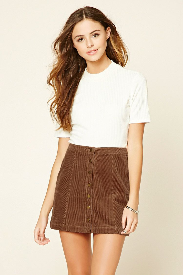 Only $14.90! - A woven corduroy mini skirt featuring a button ...
