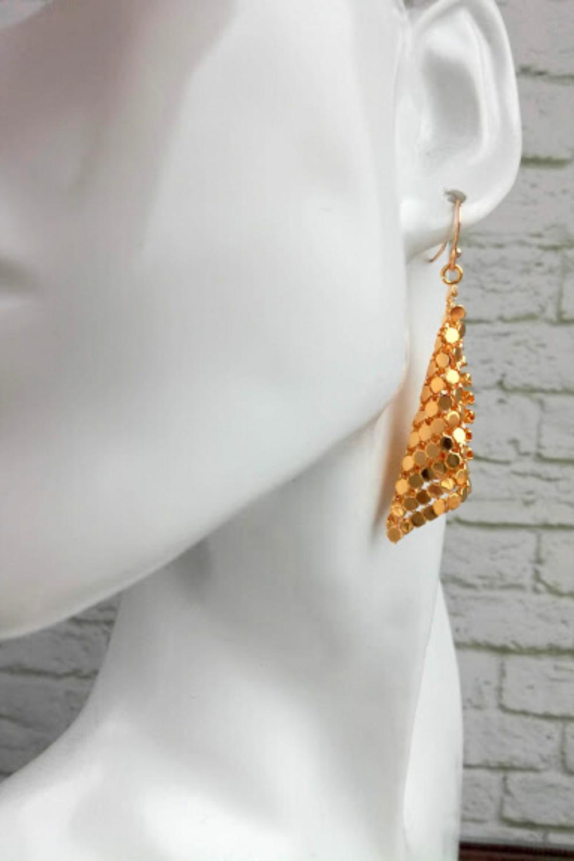 Gold chainmail earrings 24 Gold mesh earrings Liquid metal