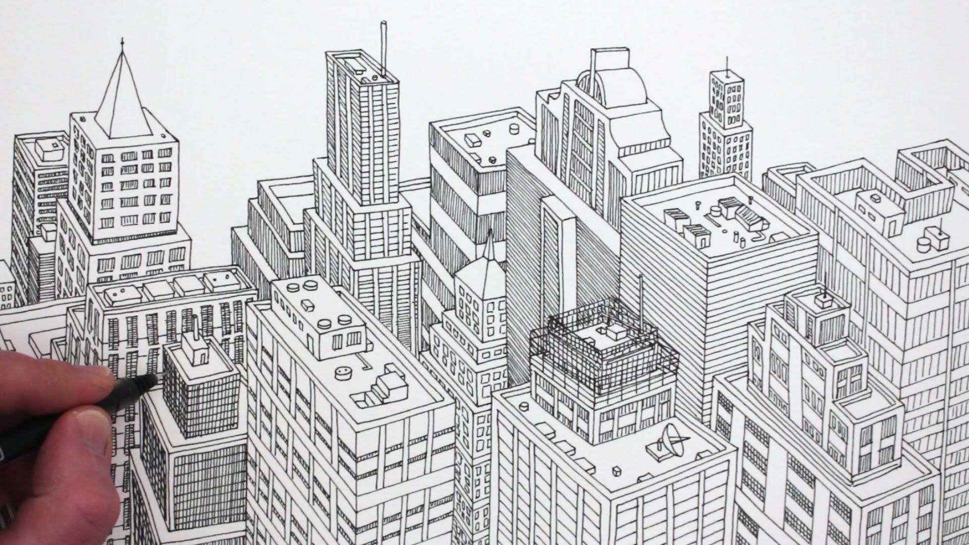 How To Draw A City In 3d Detail A Detailed Pen Drawing Of A City In Planometric That Becomes More Complex City Drawing Drawing Wallpaper Youtube Art Tutorials