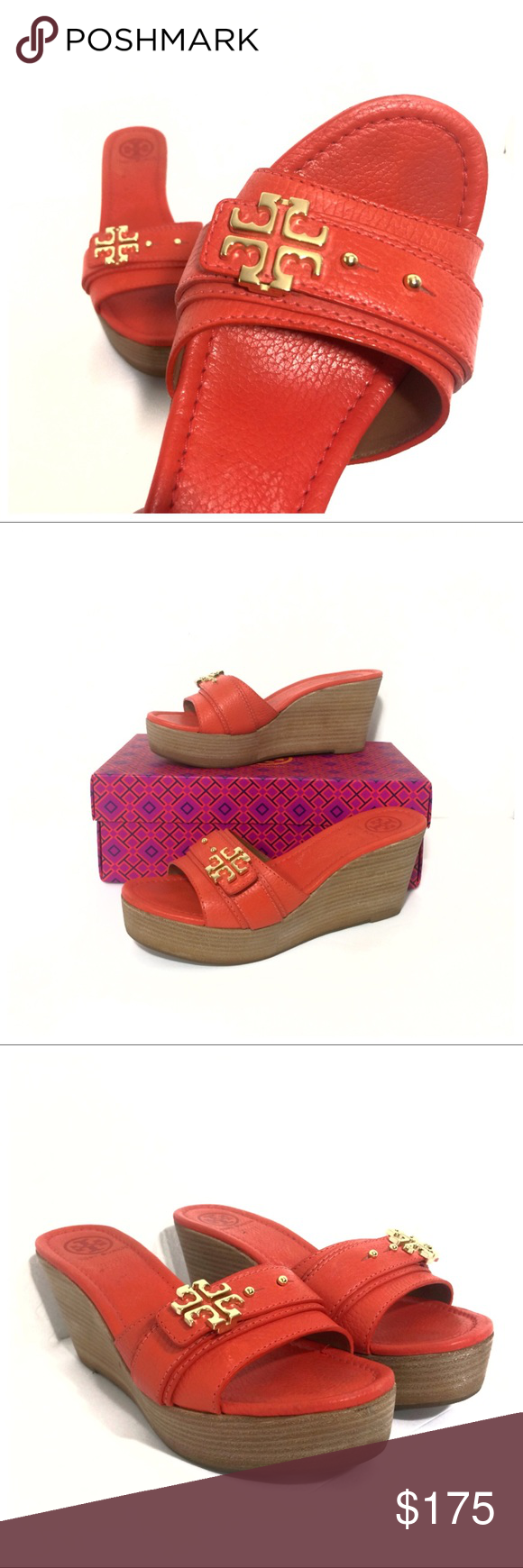 02fa76ddee4ec Tory Burch Elina Mid Wedge Sandals Habanero Pepper Tory Burch Elina Mid Wedge  Sandals in Habanero