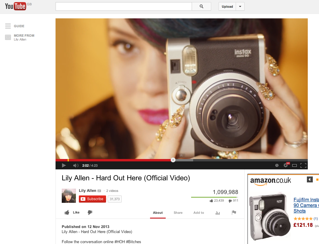 Lily Allen Uses Instax Mini 90 Instant Camera In Hard Out Here Music Lomography Lenses San Sebastian Edition Video