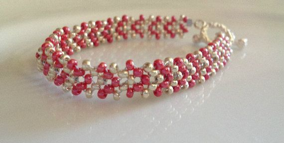 Red and Silver Seed Bead Bracelet. by GreenGirlBeads on Etsy.