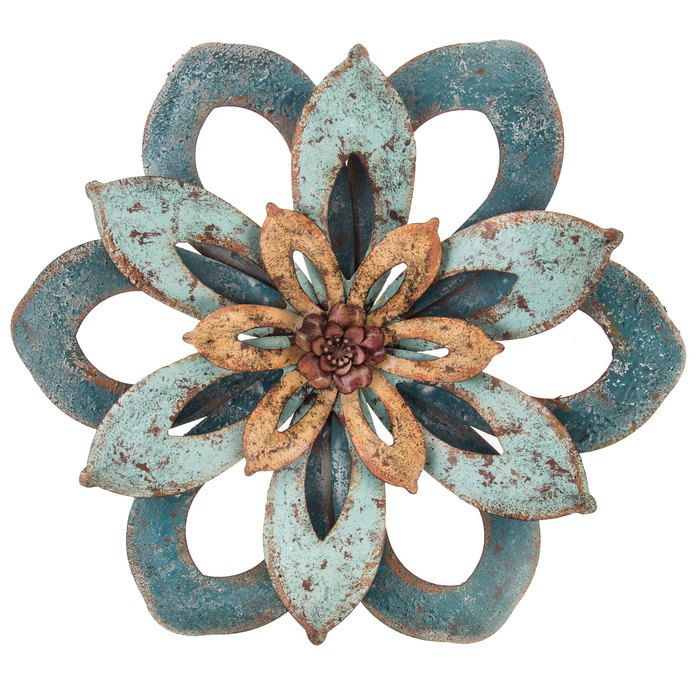 Turquoise & Teal Rustic Metal Flower Wall Decor   Flower ...