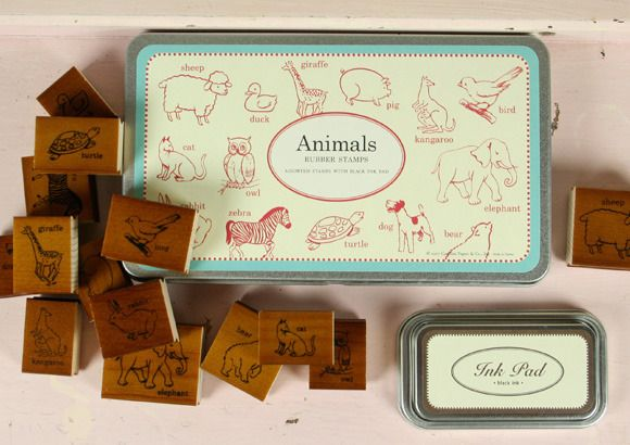 Cavallini And Co Animal Rubber Stamp Set