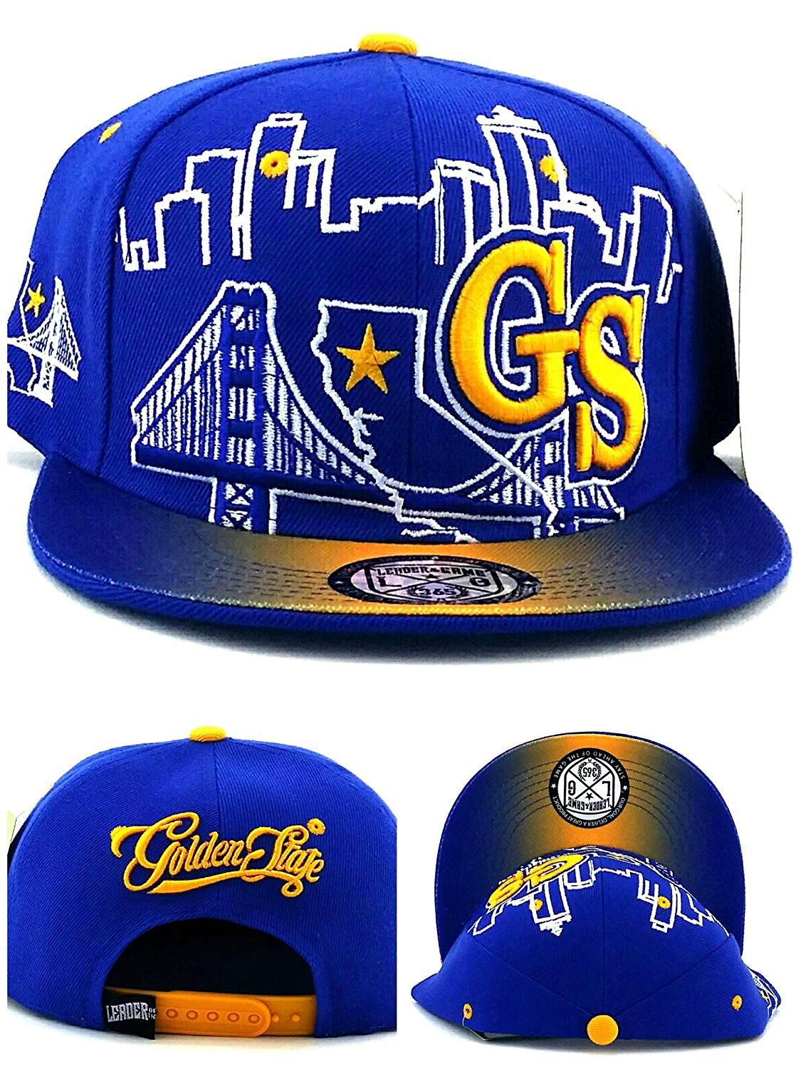 Leader of the Game Golden State New GS Skyline 3 Bridge Warriors Colors Blue  Gold Era Snapback Hat 6fda3f5f2367