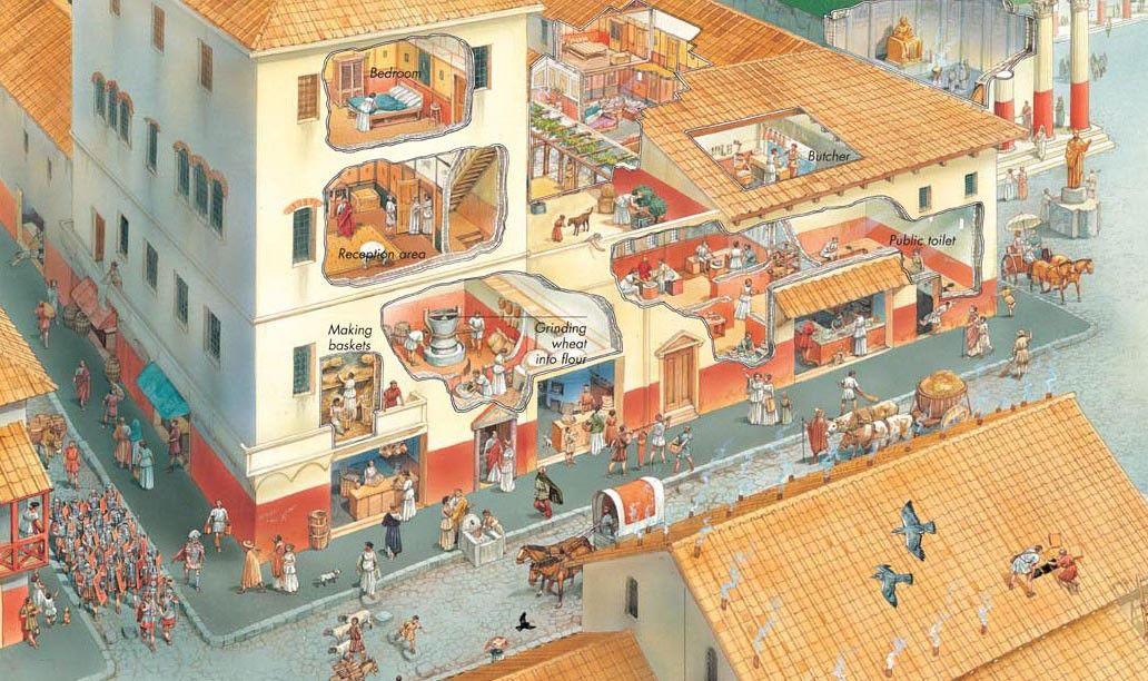 Cutaway illustration of an apartment block