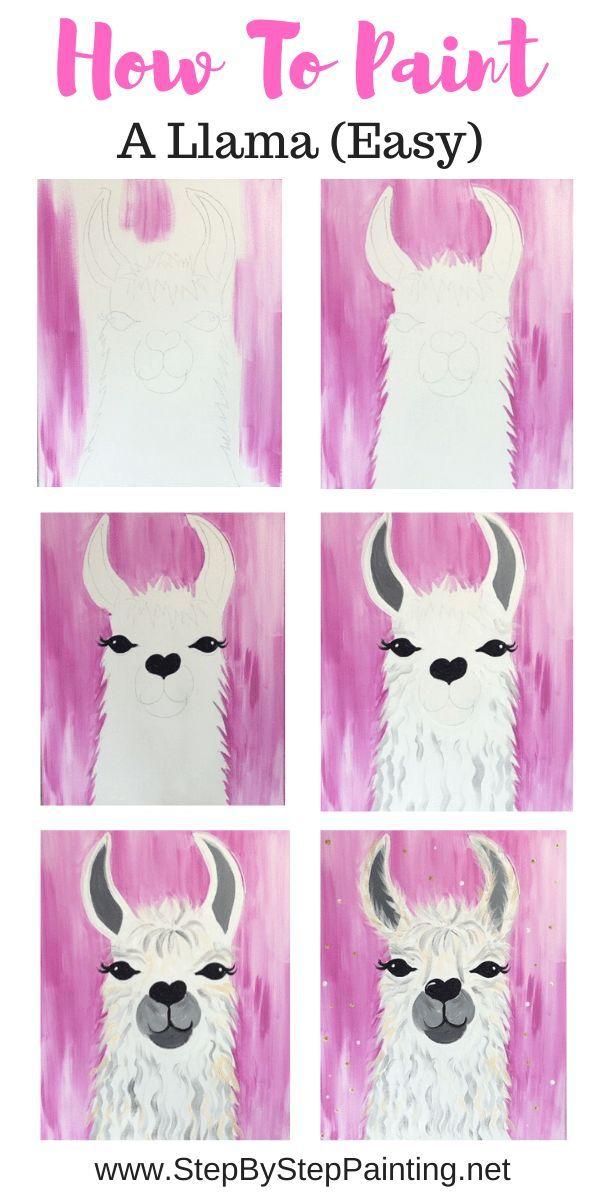 Llama Painting - Easy - Step By Step Acrylic Tutorial