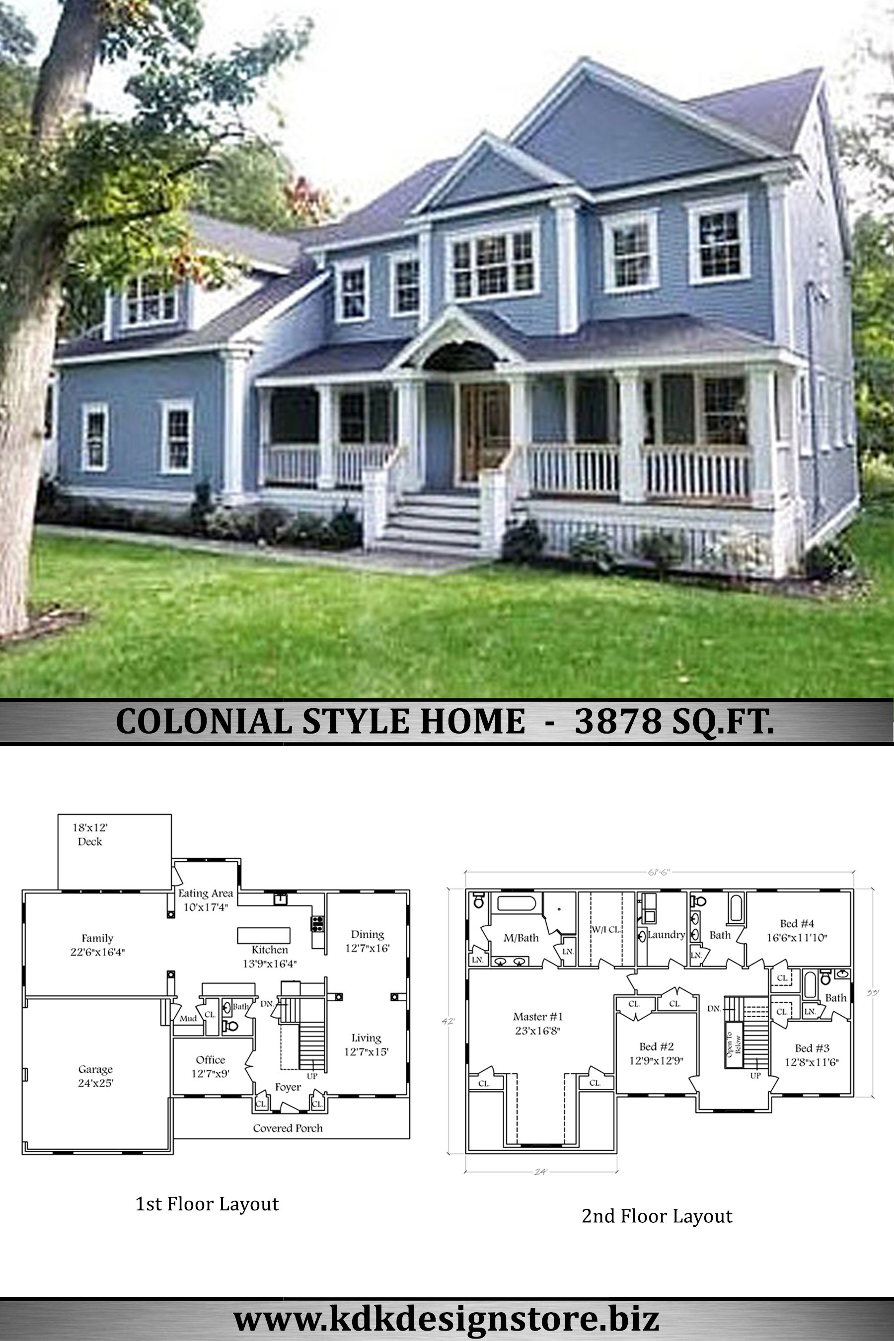 Colonial House Plan 3878 Sq Ft Colonial House Plans Colonial House House Plans