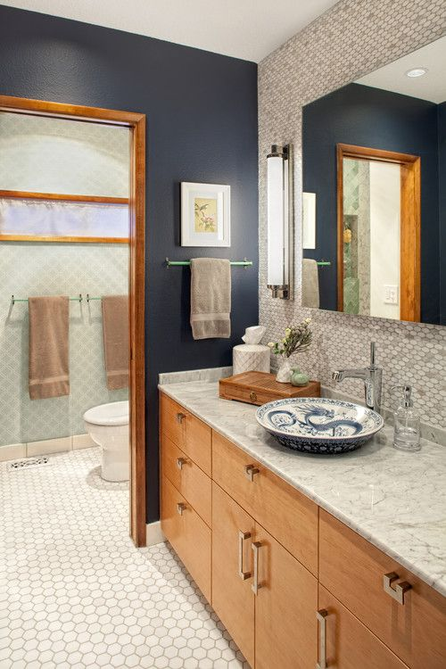 Blue With Oak Trim Blue Bathroom Brown Bathroom Decor Simple Bathroom Remodel