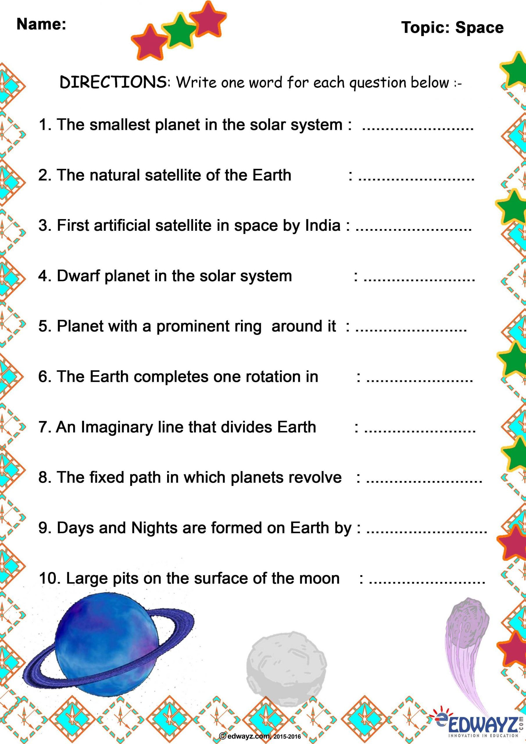 Solar System Worksheets 5th Grade In