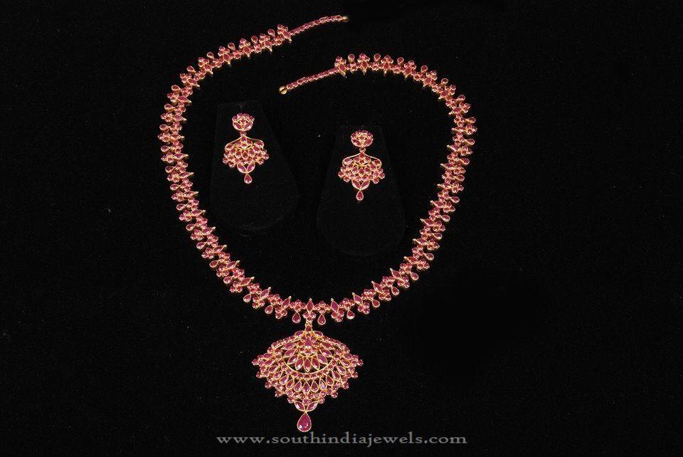 a5a93604bd113 22K Gold CZ Ruby Necklace Set | Necklace Collections | Ruby necklace ...
