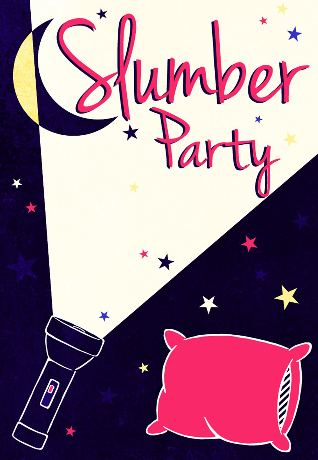 A Flash Light Free Printable Sleepover Party Invitation Template