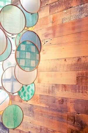 Make It! / Embroidery hoops, colorful sheer fabric, suspended in front of windows.