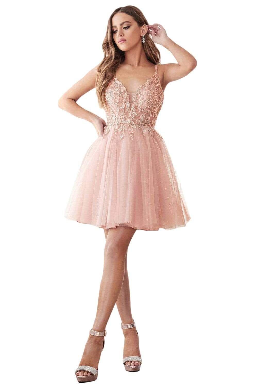 Cinderella Divine Cd0155 Short Beaded Applique Plunging Bodice Dress Pink Dress Short Sweet Sixteen Dresses Tulle Dress Short [ 1500 x 986 Pixel ]