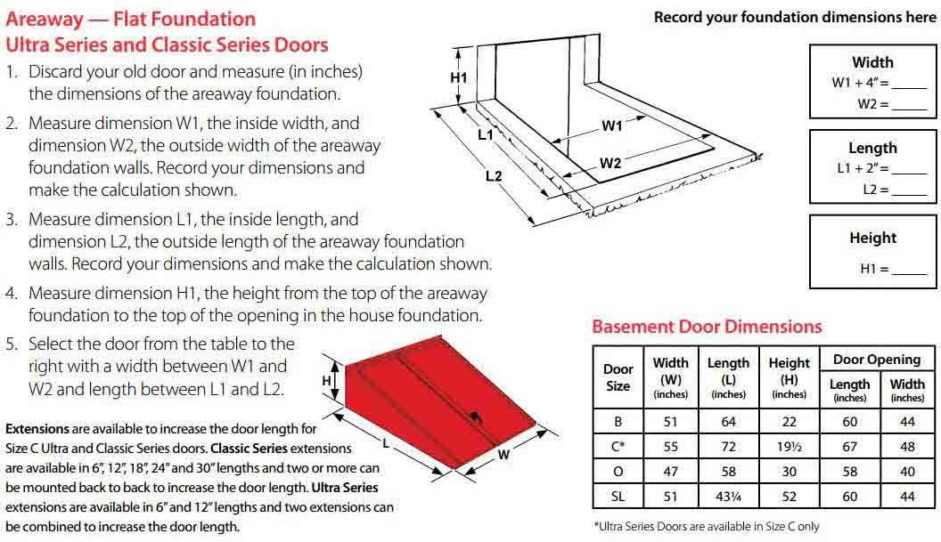 Bilco 55in X 72in Ultra Series Polyethylene Basement Door