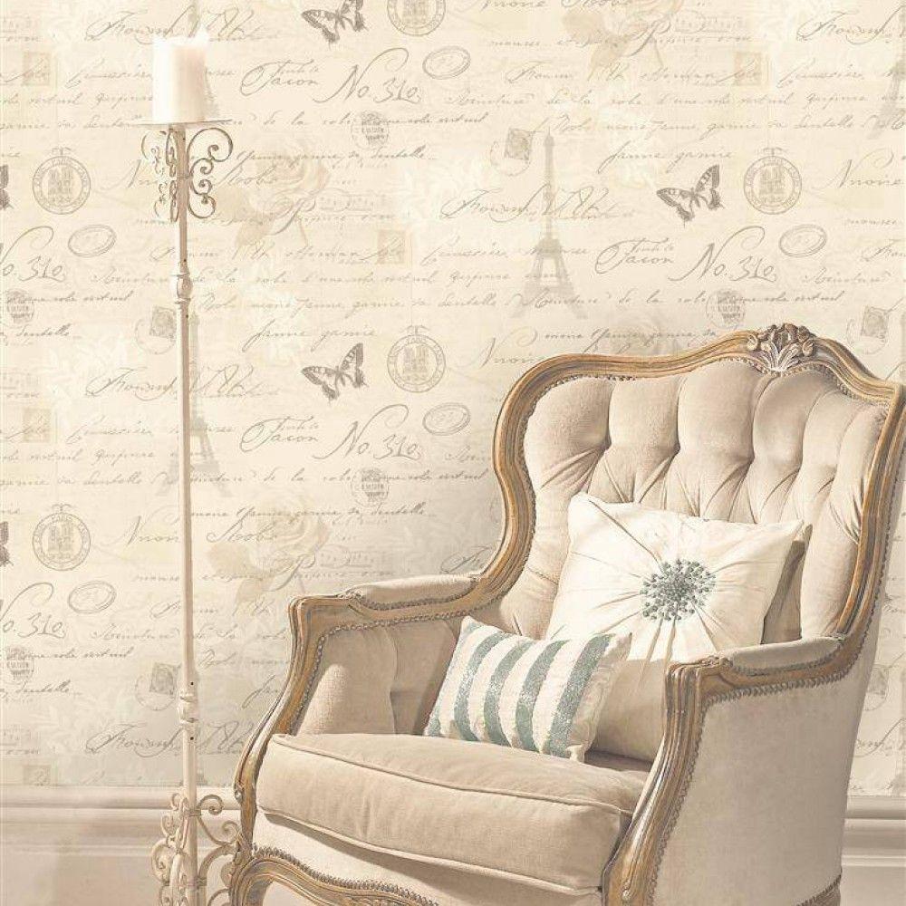 97750 Calligraphy Neutral Decor Silver Grey Wallp