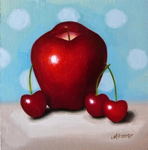"""Daily Paintworks - """"Apple And Cherry Study"""" - Original Fine Art for Sale - © Jordan Avery Foster"""