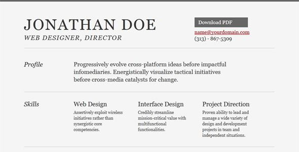 20 Free and Premium Resume\/CV HTML Website Templates and Layouts - resume website template
