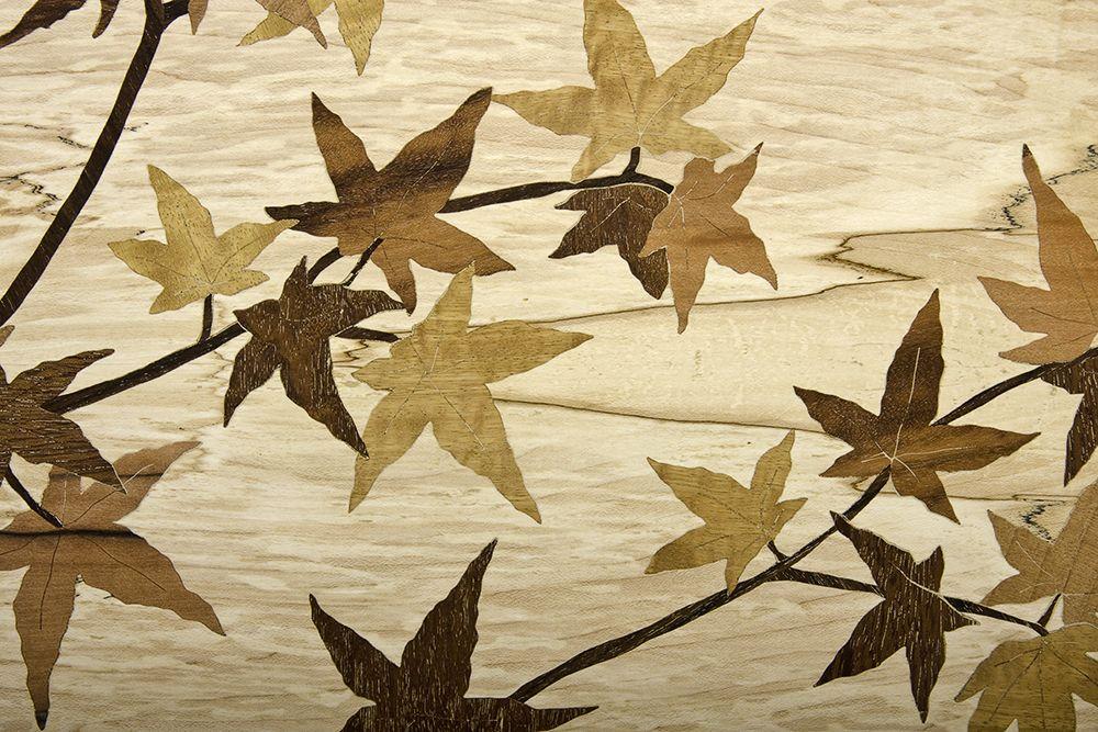 Japanese maple leaves of spalted veneer marquetry