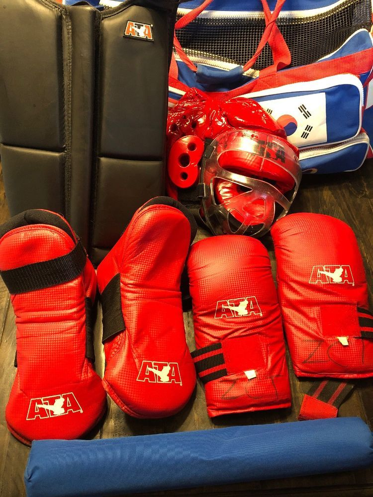 ATA Taekwondo TRAINING Sparring Gear Adult Red and Black 8 Piece Lot