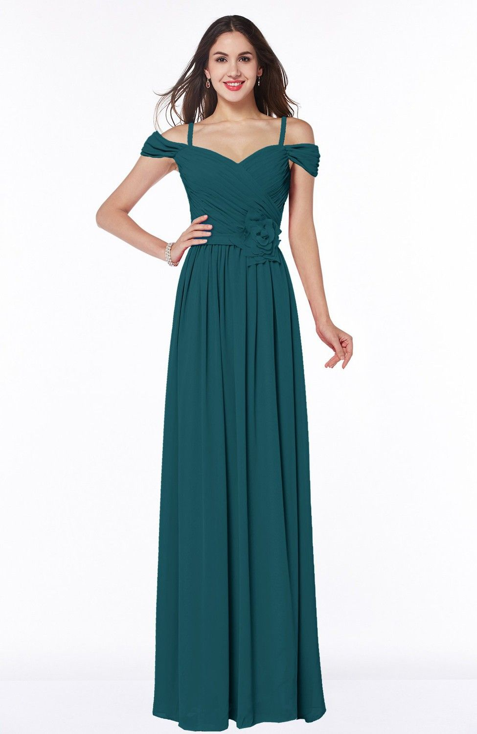 Blue Green Bridesmaid Dress - Gorgeous A-line Off-the-Shoulder Short ...