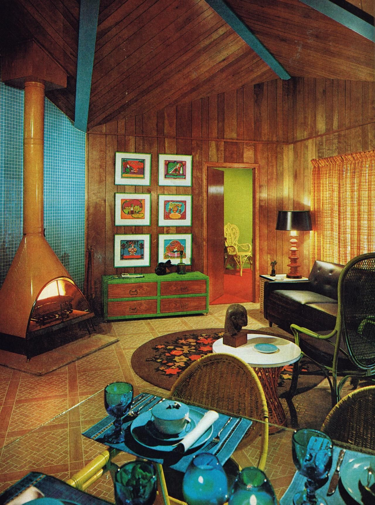 Vintage Chalet 1967 Love The Fireplace Eclectic Fireplaces Vintage Fireplace Retro Home