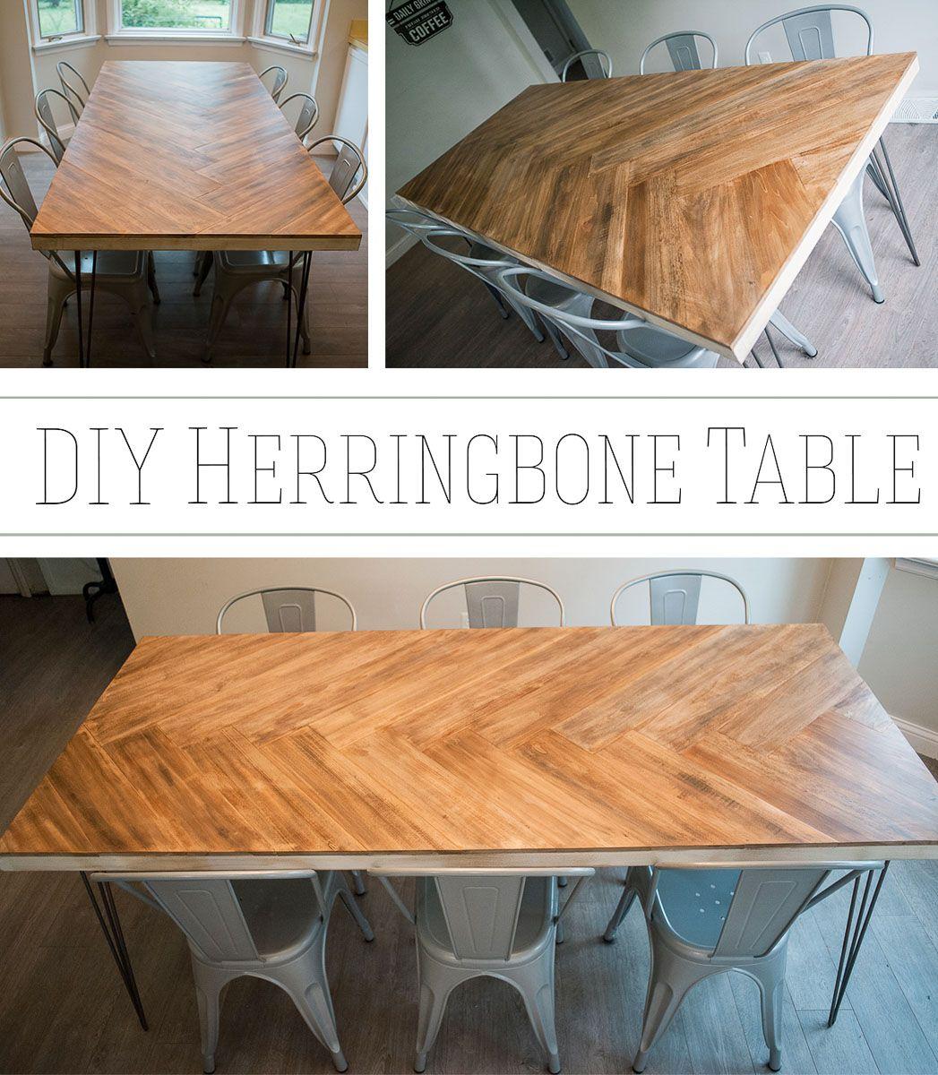 Diy Herringbone Table Part 1 Our Bright Road In 2020 Diy Kitchen Table Wooden Table Diy Diy Dining Table