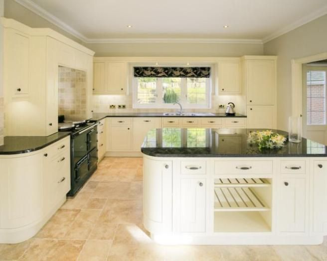 White kitchen with oak worktop do you think it looks better with – Black and White Kitchen Tile