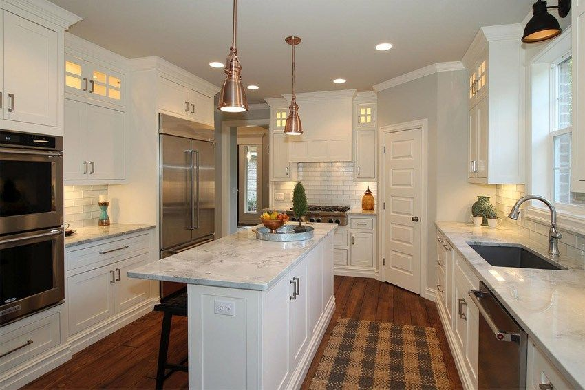Narrow kitchen island white marble counter cabinet great for Narrow kitchen cabinet