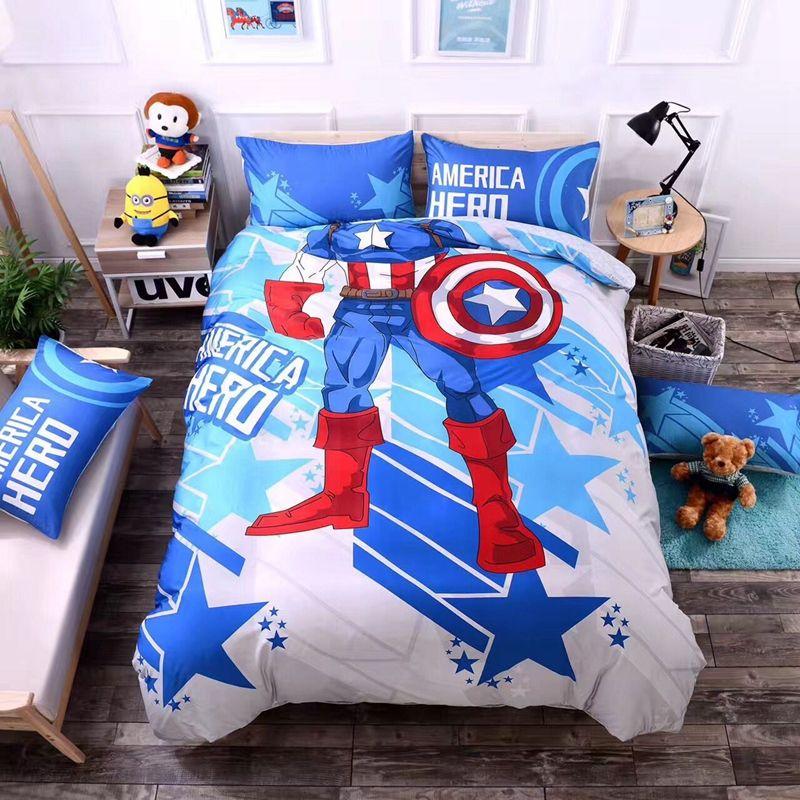 Captain America Duvet Cover Set Twin Queen Size Bedding Set Cotton Cartoon Duvet Cover Soft Bed Sheets Pi Edredones Infantiles Cuarto De Bebe Dormitorios Ninos