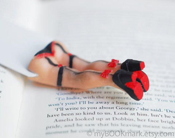 Cabaret legs bookmark. Sexy book marker in stocking with red bows and  Louboutin black shoes. For him, dude, dad, boss, Great Gatsby 20s on Etsy, $25.00