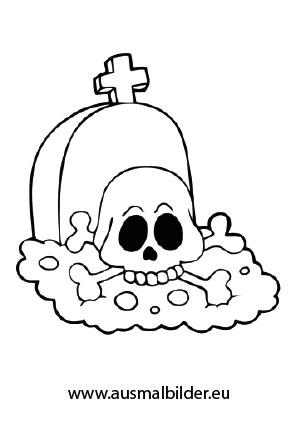 Ausmalbild Halloween Grab Mit Einem Totenschadel Malvorlagen Halloween Ausmalen Kinder Zeichnen