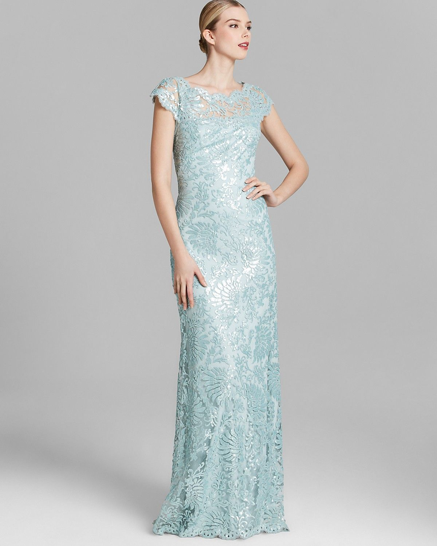 Tadashi Shoji Gown - Cap Sleeve Illusion Neckline Sequin Lace ...
