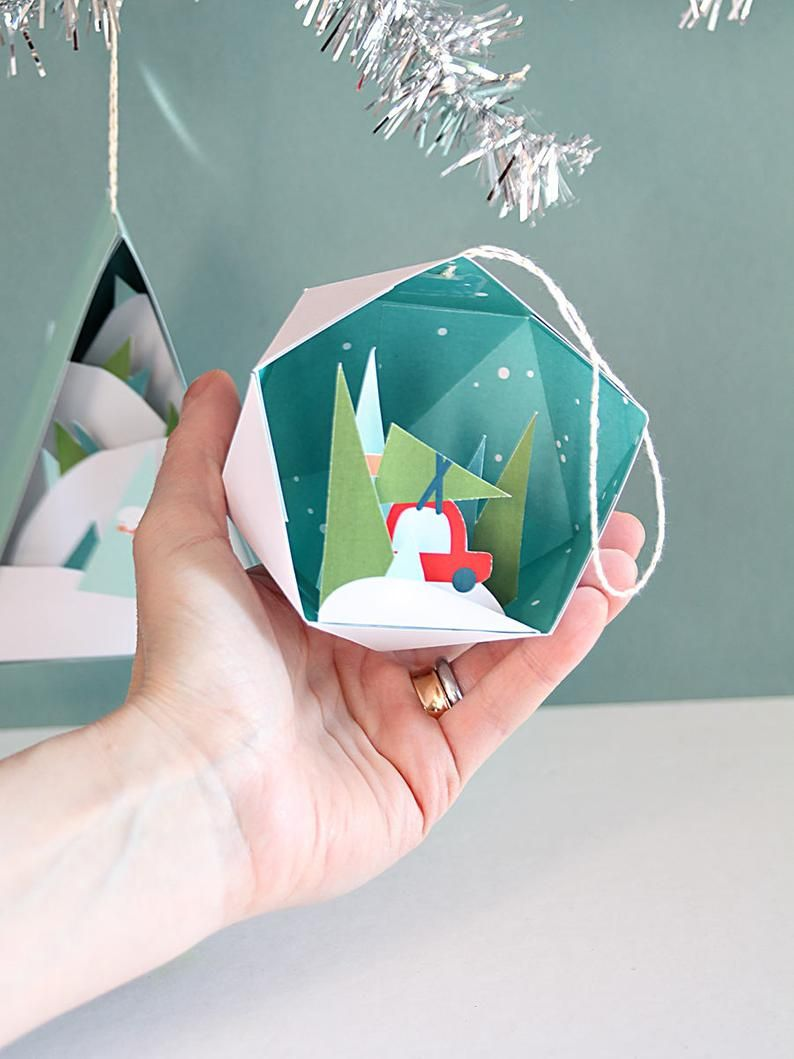 3d Christmas Ornaments 2 4 In A Set Printable Paper Etsy Paper Christmas Ornaments Christmas Ornaments Christmas Paper Crafts