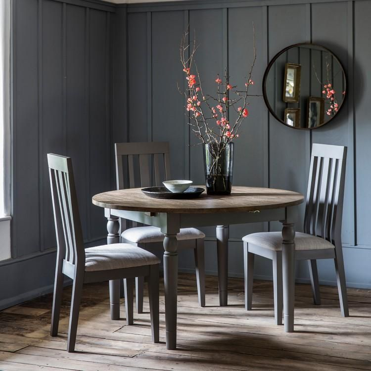 Cookham round extending dining table grey grey dining