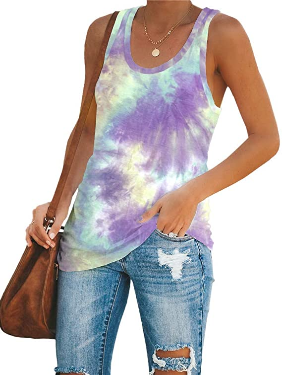 this tank top is very comfortable colorful and fun. Tie dye fitted tunic tank top