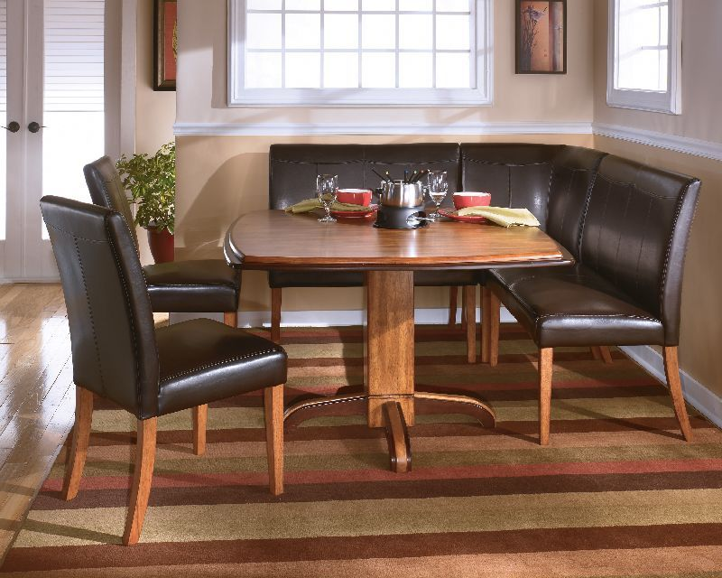 $23289 Ashley Urbandale Twotone Pedestal Table D193Tablewith Brilliant Two Toned Dining Room Sets Decorating Design