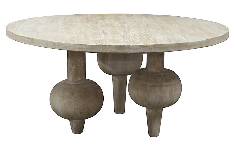 Julie 60 Round Dining Table Unfinished Cfc Gray Wash 60