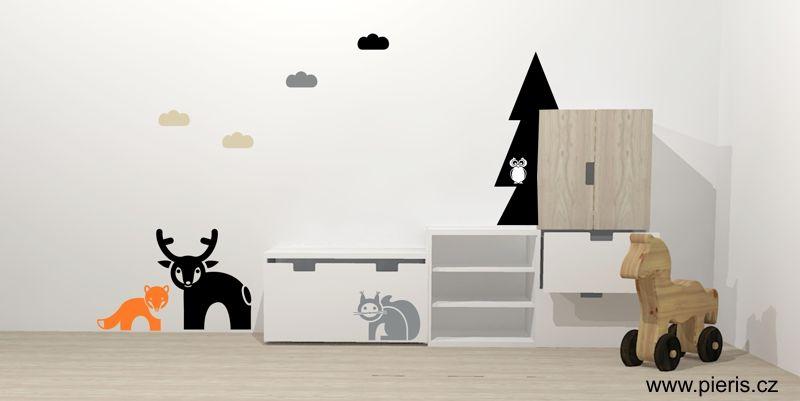 Kids room Ikea Stuva witch wallsticker Pieris design