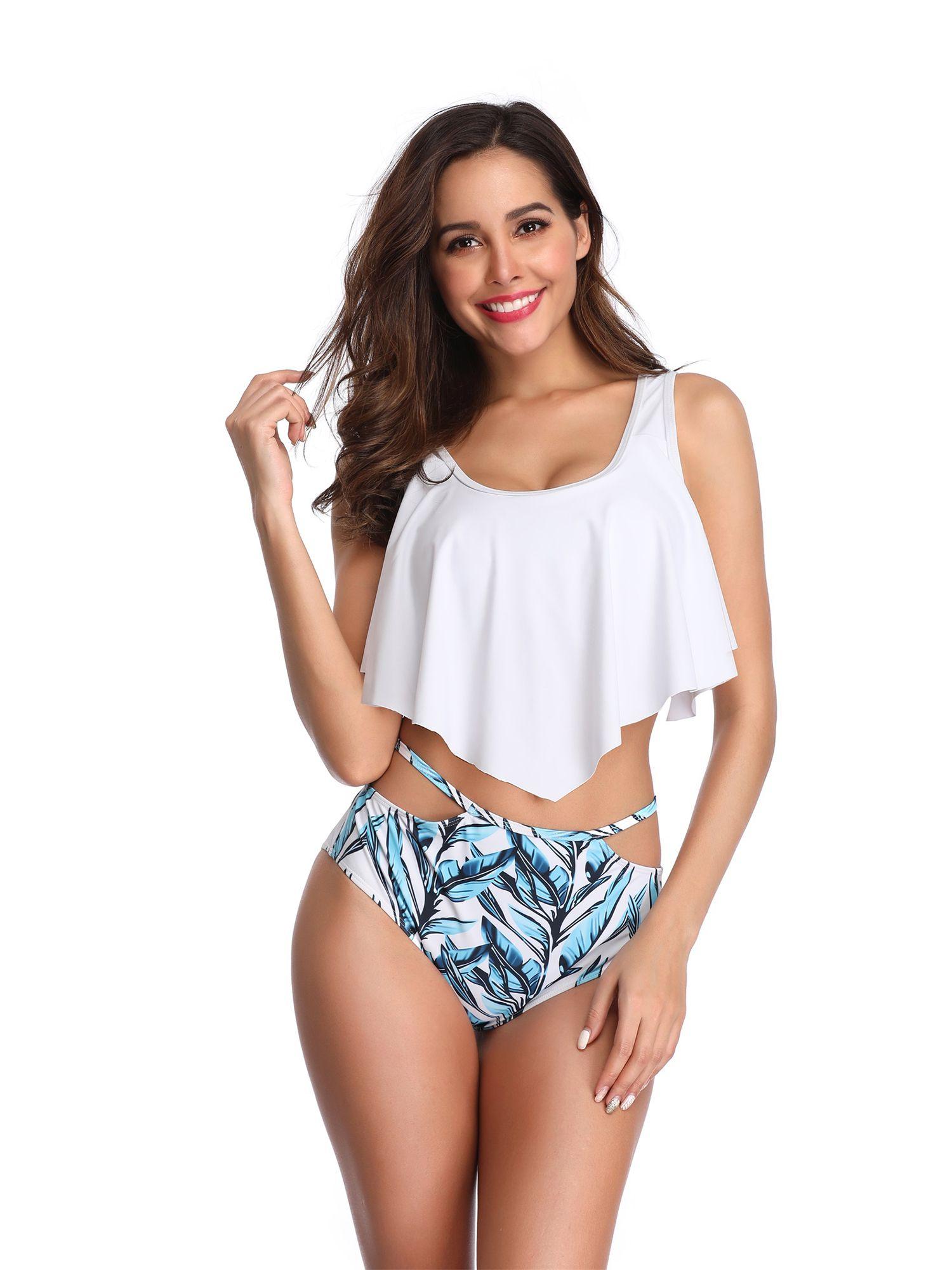 39e3aa76b9e79 Women Swimsuit Swimwear Beachwear Tankini Sets Tummy Control Backless High  Waist Bikini Push Up Bra Padded